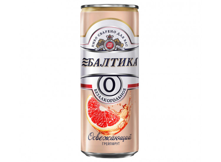 Пиво БАЛТИКА № 0 безалкогольное Грейпфрут св. 0,33 ж/б