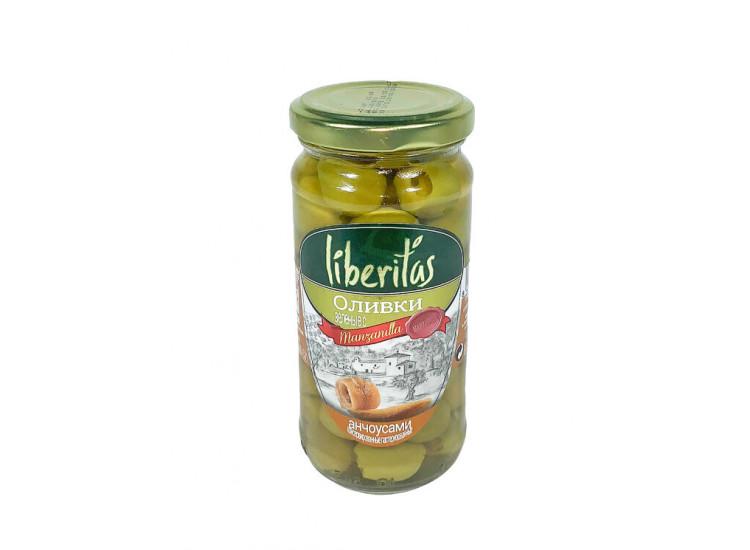 Оливки ЛИБЕРИТАС Liberitas зеленые фаршированные с анчоусом  240 гр стекло