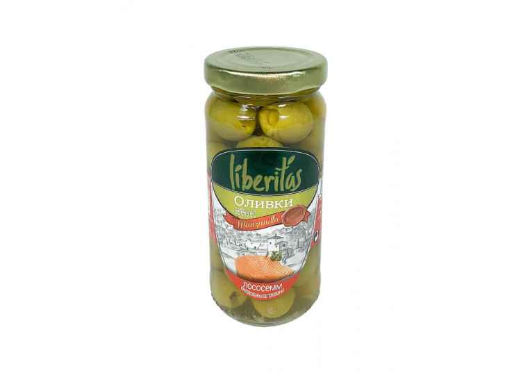 Оливки ЛИБЕРИТАС Liberitas зеленые фаршированные с лососем  240 гр стекло