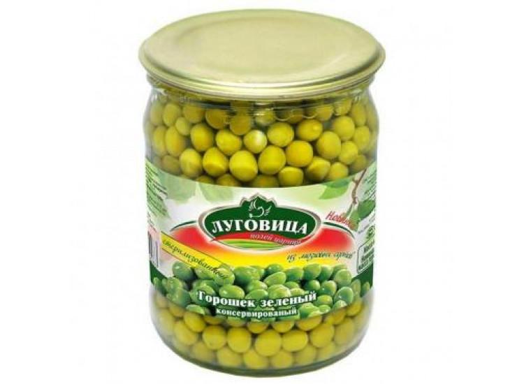 Горошек зеленый консервированный ЛУГОВИЦА 650 гр стекло