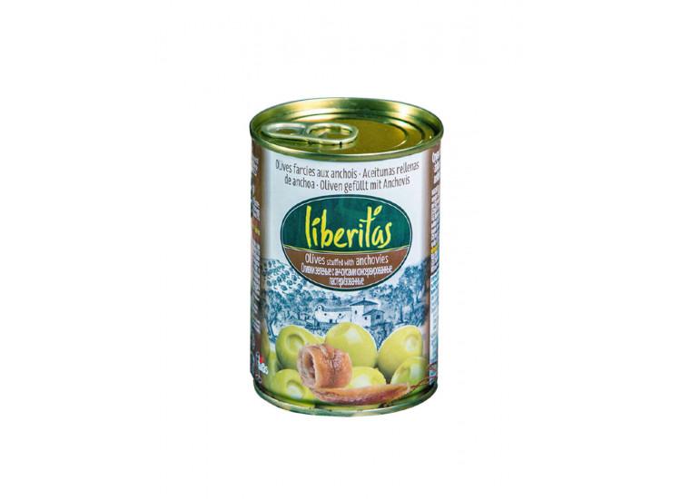 Оливки ЛИБЕРИТАС Liberitas зеленые фаршированные анчоусом 280 гр