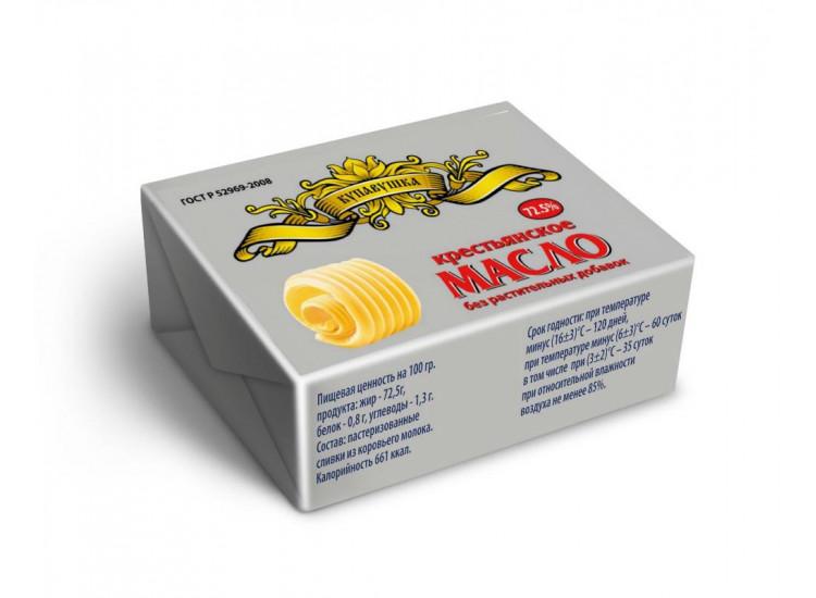 Масло сладко-сливочное Купавушка Крестьянское 72,5%